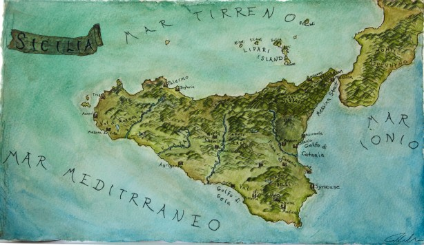 Map of Sicily (watercolor and ink)