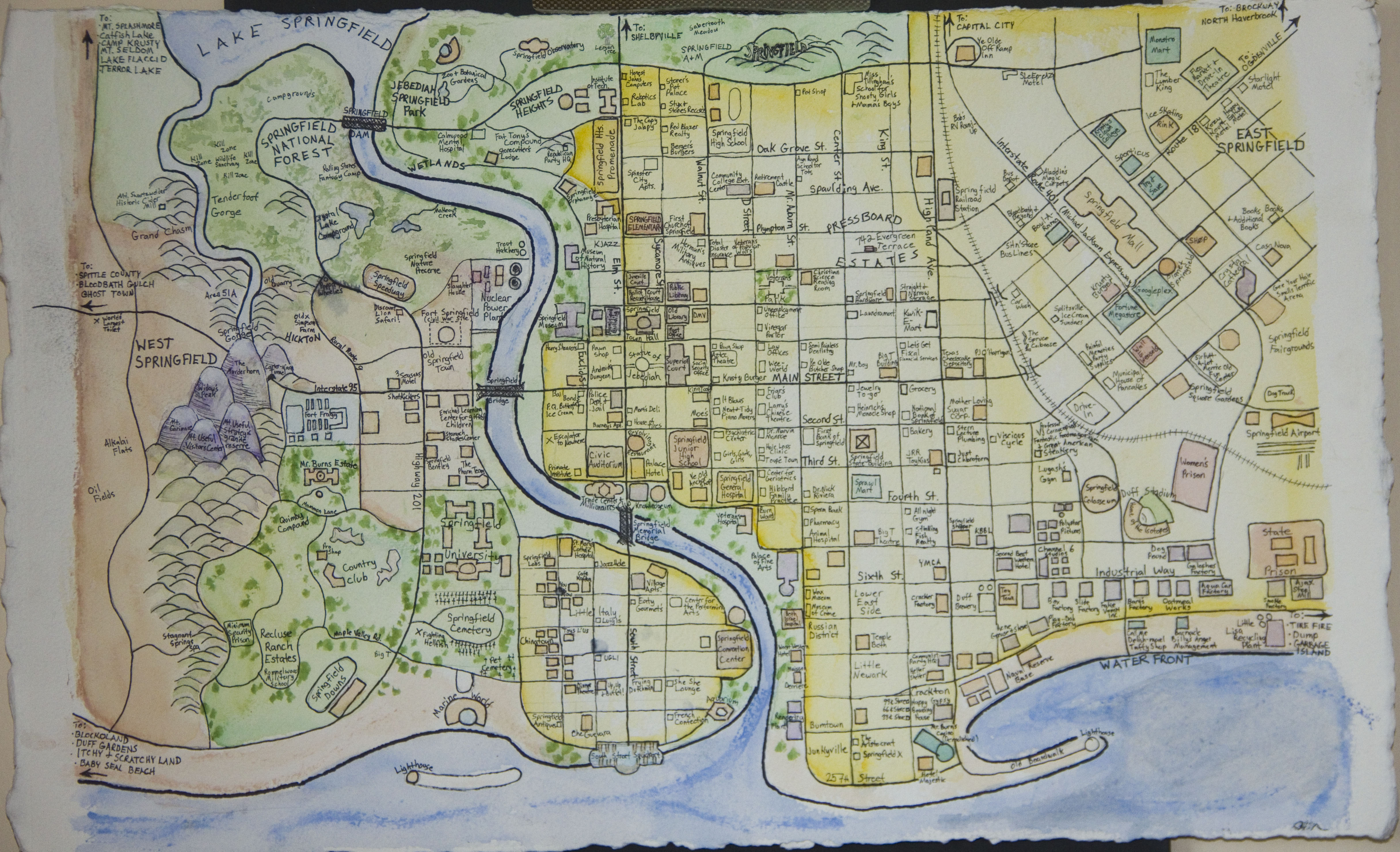 Map of Springfield USA from The Simpsons Holden Wilson